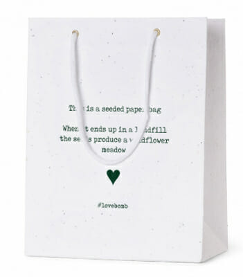 Seed Paper Carrier Bags #LoveBomb