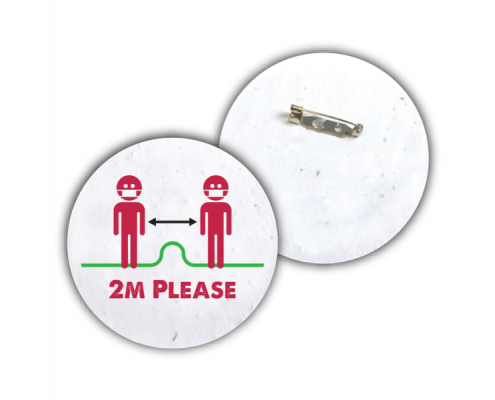Biodegradable Social Distancing Badges made from Seed Paper